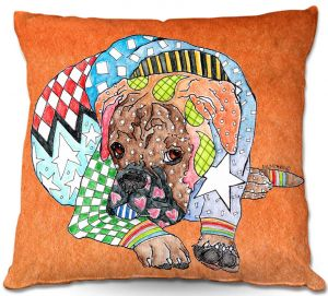 Decorative Outdoor Patio Pillow Cushion | Marley Ungaro - Boxer Dog Orange