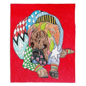 Artistic Sherpa Pile Blankets | Marley Ungaro Boxer Dog Red