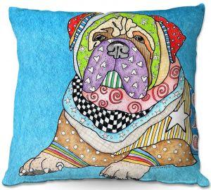 Throw Pillows Decorative Artistic | Marley Ungaro - Bull Mastiff Dog Aqua