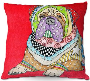 Throw Pillows Decorative Artistic | Marley Ungaro - Bull Mastif Dog Red