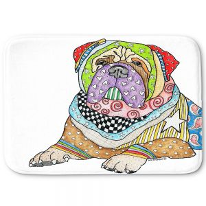 Decorative Bath Mat Large from DiaNoche Designs by Marley Ungaro - Bull Mastiff Dog White