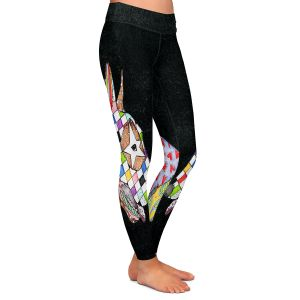 Unique Leggings Medium from DiaNoche Designs by Marley Ungaro - Bull Terrier Dog Black