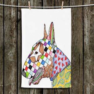 Unique Hanging Tea Towels | Marley Ungaro - Bull Terrier Dog White | Bull Terrier Dog