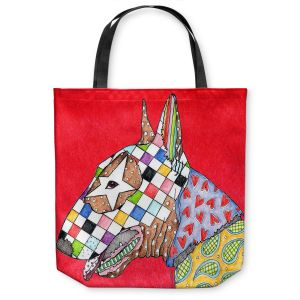 Unique Shoulder Bag Tote Bags | Marley Ungaro Bull Terrier Dog Red