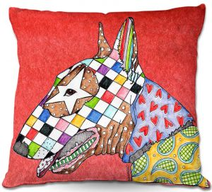 Throw Pillows Decorative Artistic | Marley Ungaro Bull Terrier Dog Watermelon