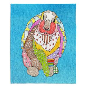 Decorative Fleece Throw Blankets | Marley Ungaro - Bunny Aqua