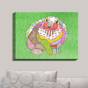 Decorative Canvas Wall Art | Marley Ungaro - Bunny Green | Rabbit Animals