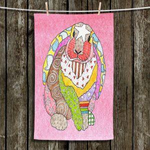 Unique Hanging Tea Towels | Marley Ungaro - Bunny Pink | Rabbit Animals