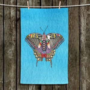 Unique Hanging Tea Towels | Marley Ungaro - Butterfly Aqua | Abstract pattern whimsical