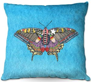 Throw Pillows Decorative Artistic | Marley Ungaro - Butterfly Aqua | Abstract pattern whimsical