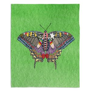 Decorative Fleece Throw Blankets | Marley Ungaro - Butterfly Green | Abstract pattern whimsical