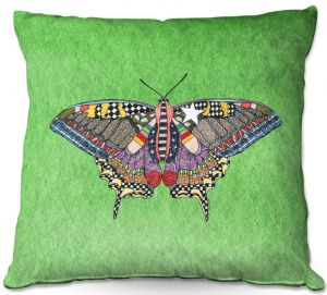 Throw Pillows Decorative Artistic | Marley Ungaro - Butterfly Green | Abstract pattern whimsical