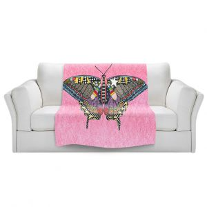 Artistic Sherpa Pile Blankets | Marley Ungaro - Butterfly Light Pink | Abstract pattern whimsical