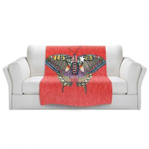 Artistic Sherpa Pile Blankets   Marley Ungaro - Butterfly Watermelon   Abstract pattern whimsical