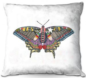Throw Pillows Decorative Artistic | Marley Ungaro - Butterfly White | Abstract pattern whimsical