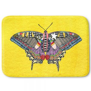 Decorative Bathroom Mats | Marley Ungaro - Butterfly Yellow | Abstract pattern whimsical