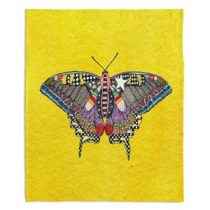 Artistic Sherpa Pile Blankets | Marley Ungaro - Butterfly Yellow | Abstract pattern whimsical