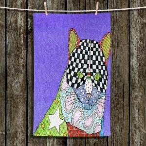 Unique Hanging Tea Towels | Marley Ungaro - Cat Indigo | Cat Animals Colorful