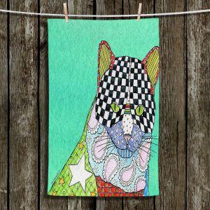 Unique Hanging Tea Towels | Marley Ungaro - Cat Teal | Cat Animals Colorful