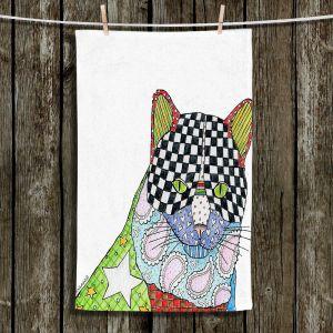 Unique Hanging Tea Towels | Marley Ungaro - Cat White | Cat Animals Colorful