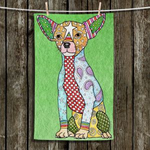 Unique Hanging Tea Towels | Marley Ungaro - Chihuahua Dog Green | Dogs Animals Chihuahua Colorful