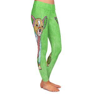 Casual Comfortable Leggings | Marley Ungaro - Chihuahua Dog Green