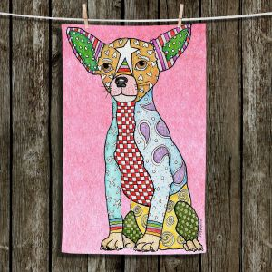 Unique Hanging Tea Towels | Marley Ungaro - Chihuahua Dog Light Pink | Dogs Animals Chihuahua Colorful
