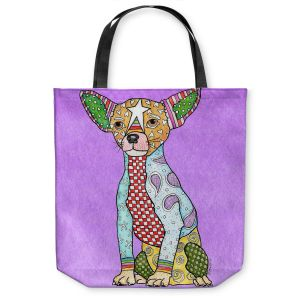 Unique Shoulder Bag Tote Bags | Marley Ungaro - Chihuahua Dog Violet