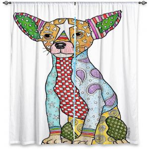 Unique Window Curtains Unlined 80w x 61h from DiaNoche Designs by Marley Ungaro - Chihuahua Dog White