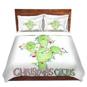 Artistic Duvet Covers and Shams Bedding | Marley Ungaro - Christmas Cactus | Christmas Lights