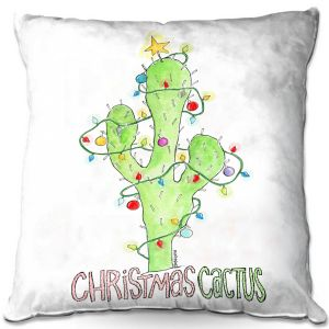 Decorative Outdoor Patio Pillow Cushion | Marley Ungaro - Christmas Cactus | Christmas Lights