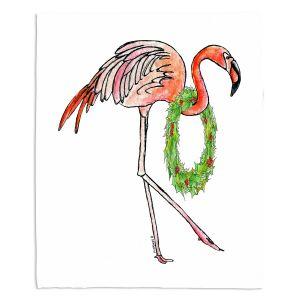 Decorative Fleece Throw Blankets | Marley Ungaro - Christmas Wreath Flamingo | Christmas Wild Animals