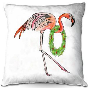 Throw Pillows Decorative Artistic   Marley Ungaro - Christmas Wreath Flamingo   Christmas Wild Animals