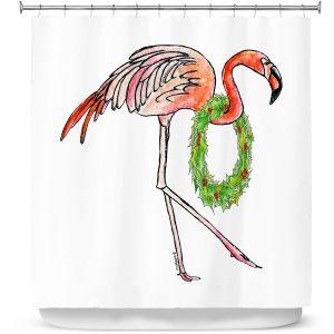 Premium Shower Curtains | Marley Ungaro - Christmas Wreath Flamingo