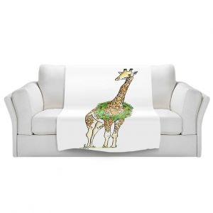 Artistic Sherpa Pile Blankets   Marley Ungaro - Christmas Wreath Giraffe   Christmas Wild Animals