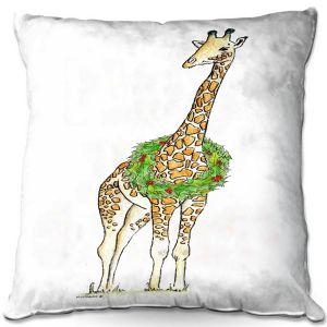 Throw Pillows Decorative Artistic | Marley Ungaro - Christmas Wreath Giraffe | Christmas Wild Animals