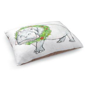 Decorative Dog Pet Beds | Marley Ungaro - Christmas Wreath Hippo | Christmas Wild Animals