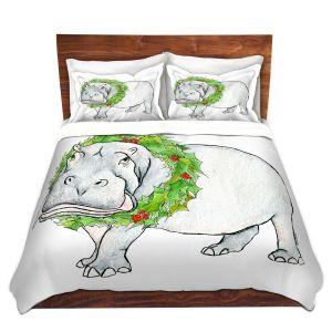 Artistic Duvet Covers and Shams Bedding | Marley Ungaro - Christmas Wreath Hippo | Christmas Wild Animals
