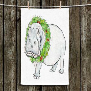 Unique Bathroom Towels   Marley Ungaro - Christmas Wreath Hippo