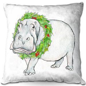 Decorative Outdoor Patio Pillow Cushion | Marley Ungaro - Christmas Wreath Hippo | Christmas Wild Animals