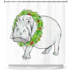 Premium Shower Curtains | Marley Ungaro - Christmas Wreath Hippo