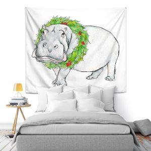 Artistic Wall Tapestry | Marley Ungaro - Christmas Wreath Hippo | Christmas Wild Animals
