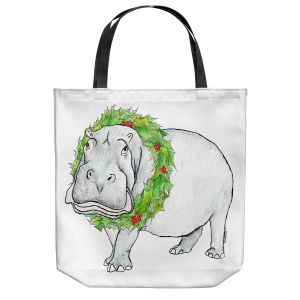 Unique Shoulder Bag Tote Bags | Marley Ungaro - Christmas Wreath Hippo | Christmas Wild Animals