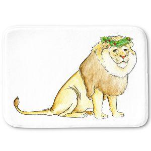 Decorative Bathroom Mats | Marley Ungaro - Christmas Wreath Lion | Christmas Wild Animals