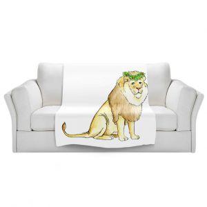Artistic Sherpa Pile Blankets   Marley Ungaro - Christmas Wreath Lion   Christmas Wild Animals