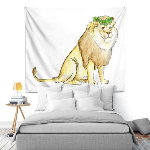 Artistic Wall Tapestry | Marley Ungaro - Christmas Wreath Lion | Christmas Wild Animals