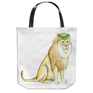 Unique Shoulder Bag Tote Bags | Marley Ungaro - Christmas Wreath Lion | Christmas Wild Animals