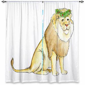Decorative Window Treatments | Marley Ungaro - Christmas Wreath Lion | Christmas Wild Animals