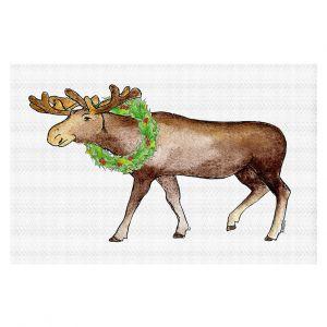 Decorative Floor Covering Mats | Marley Ungaro - Christmas Wreath Moose | Christmas Wild Animals