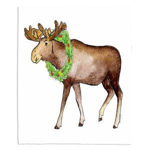 Decorative Fleece Throw Blankets | Marley Ungaro - Christmas Wreath Moose | Christmas Wild Animals